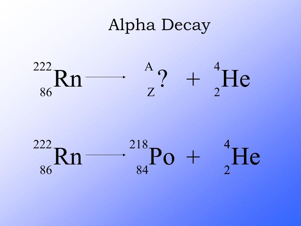 Alpha Decay Rn 222 86 + A Z He 4 2 Rn 222 86 He 4 2 + Po 218 84