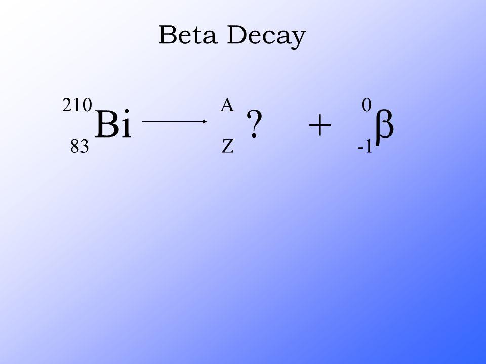 Beta Decay Bi 210 83 A Z + b -1