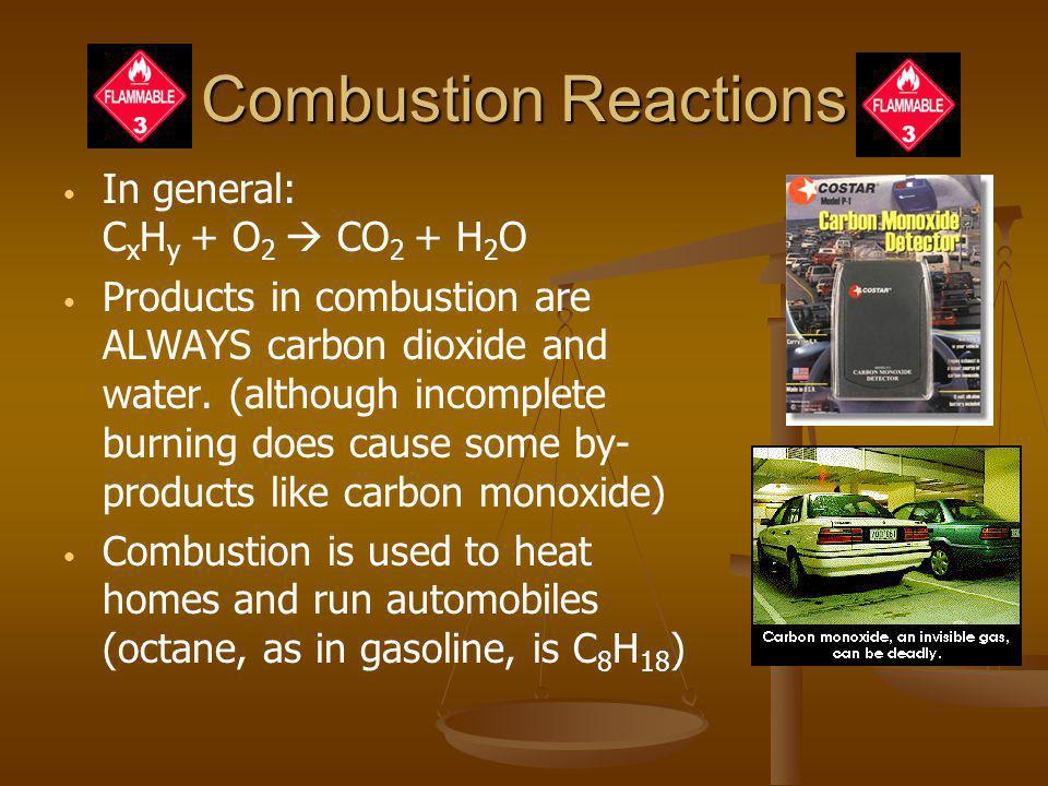 Combustion Reactions In general: CxHy + O2  CO2 + H2O