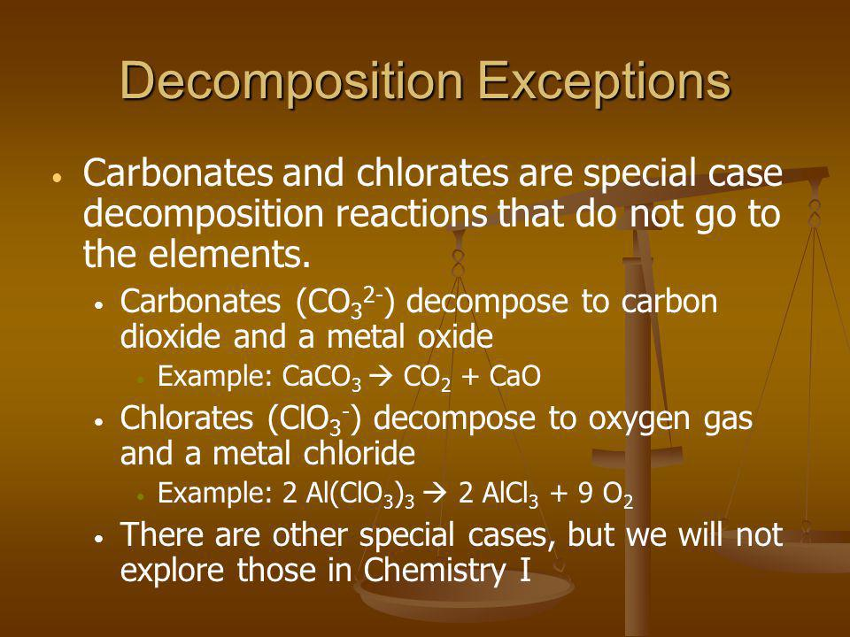 Decomposition Exceptions