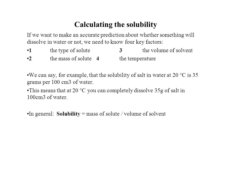 Calculating the solubility