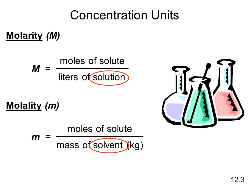 Concentration Units Molarity (M) moles of solute M =