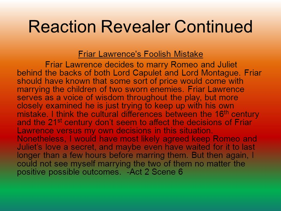 Reaction Revealer Continued