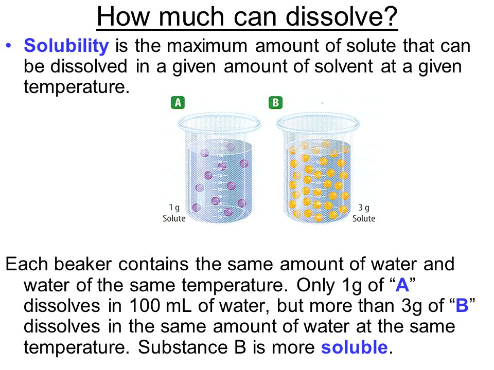 How much can dissolve Solubility is the maximum amount of solute that can be dissolved in a given amount of solvent at a given temperature.