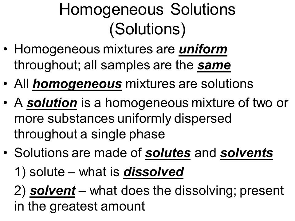 Homogeneous Solutions (Solutions)