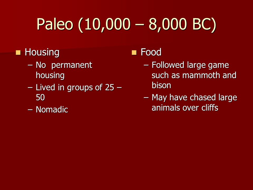 Paleo (10,000 – 8,000 BC) Housing Food No permanent housing
