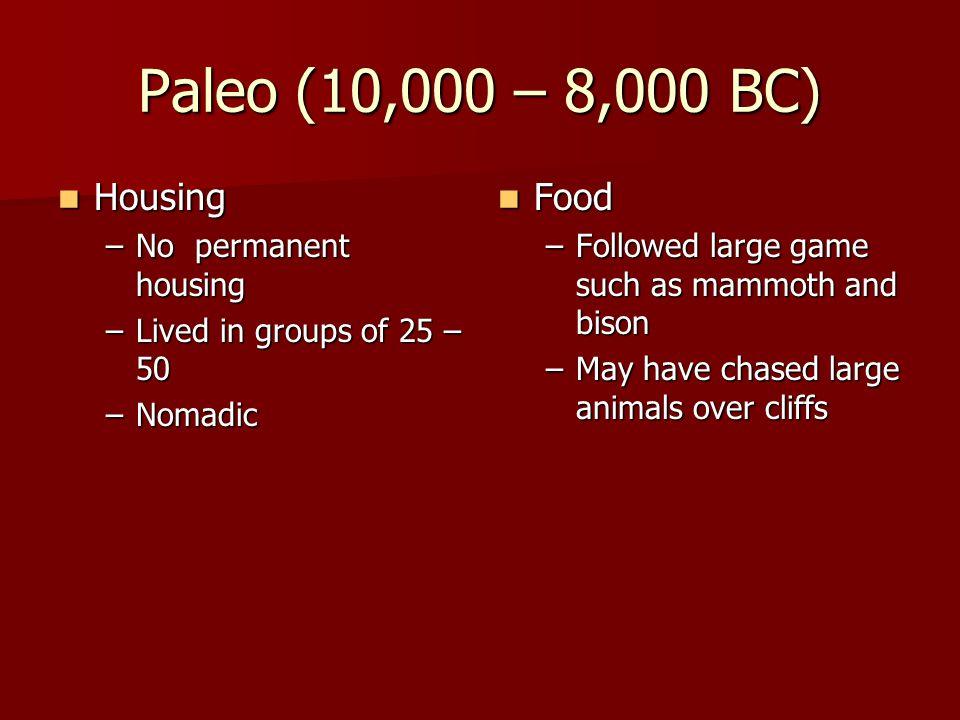 Paleo (10,000 – 8,000 BC) Housing Food No permanent housing
