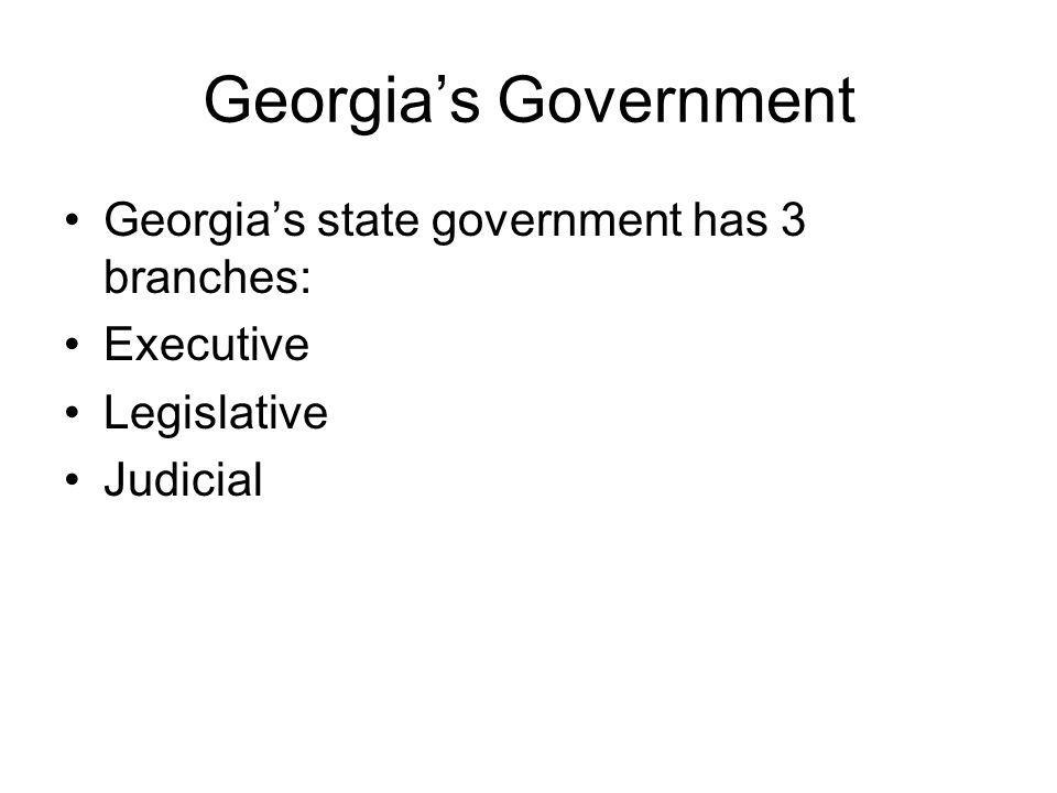 Georgia's Government Georgia's state government has 3 branches: