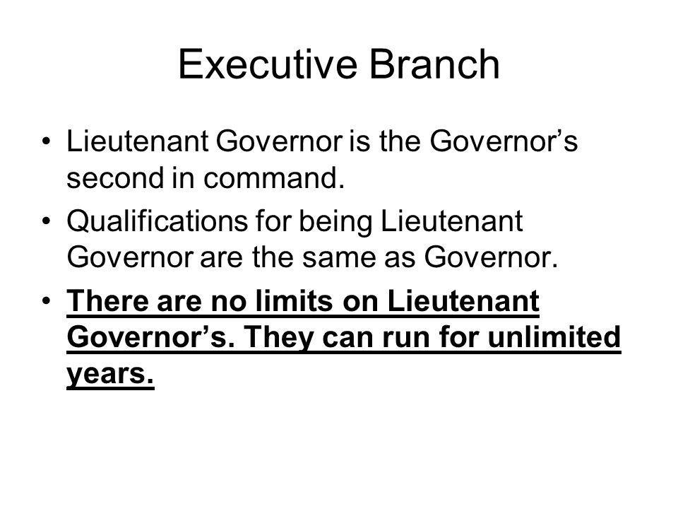 Executive Branch Lieutenant Governor is the Governor's second in command. Qualifications for being Lieutenant Governor are the same as Governor.