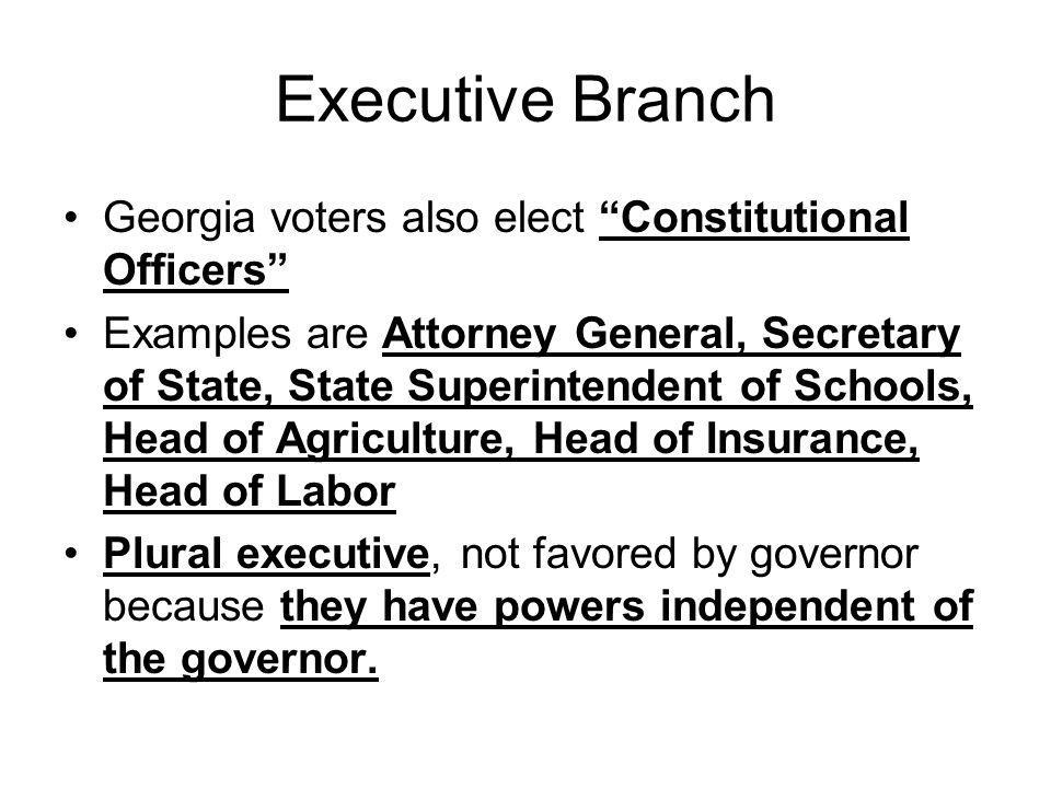 Executive Branch Georgia voters also elect Constitutional Officers