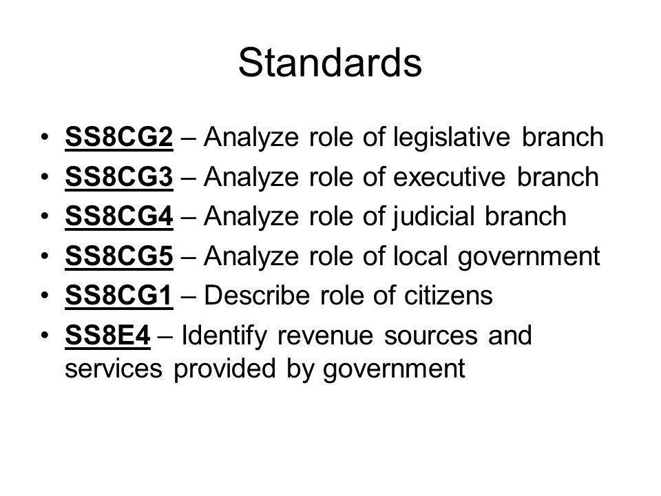 Standards SS8CG2 – Analyze role of legislative branch