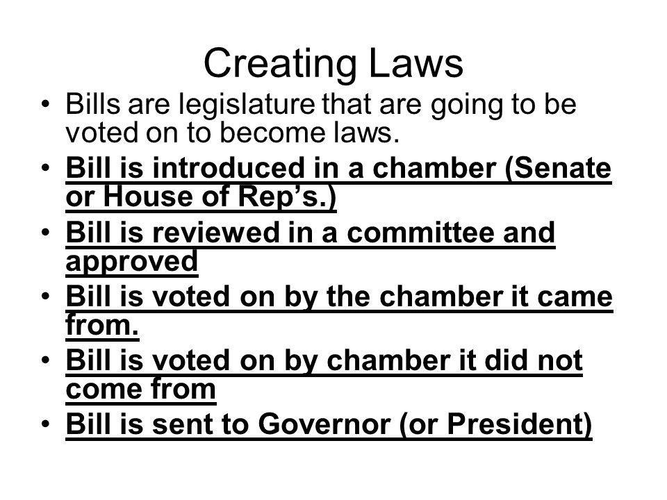 Creating Laws Bills are legislature that are going to be voted on to become laws. Bill is introduced in a chamber (Senate or House of Rep's.)
