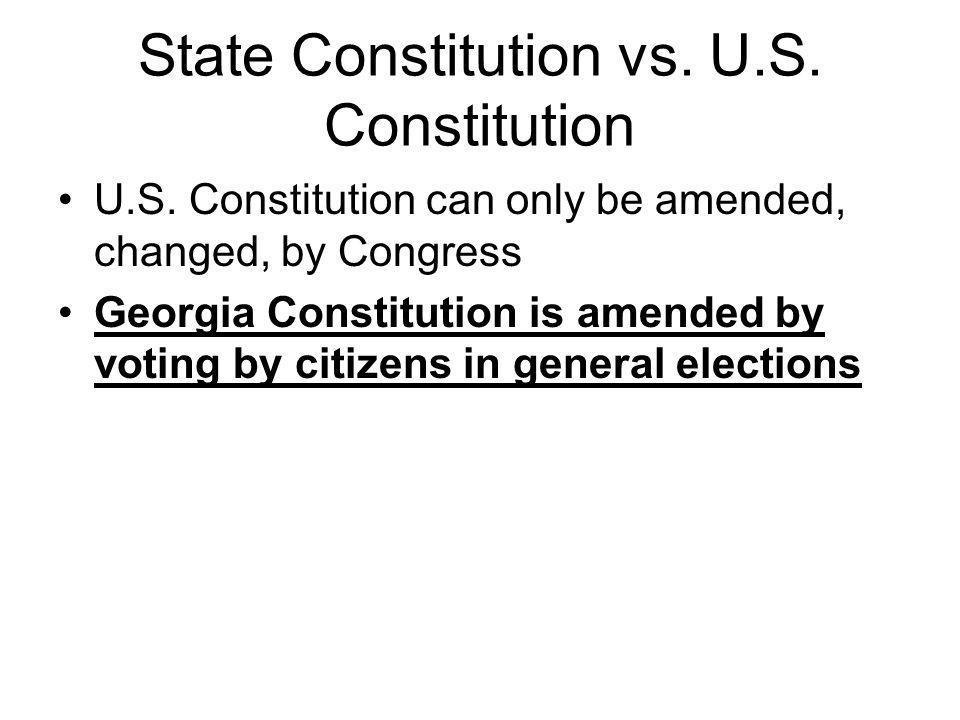 State Constitution vs. U.S. Constitution