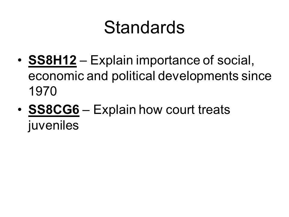 Standards SS8H12 – Explain importance of social, economic and political developments since 1970.