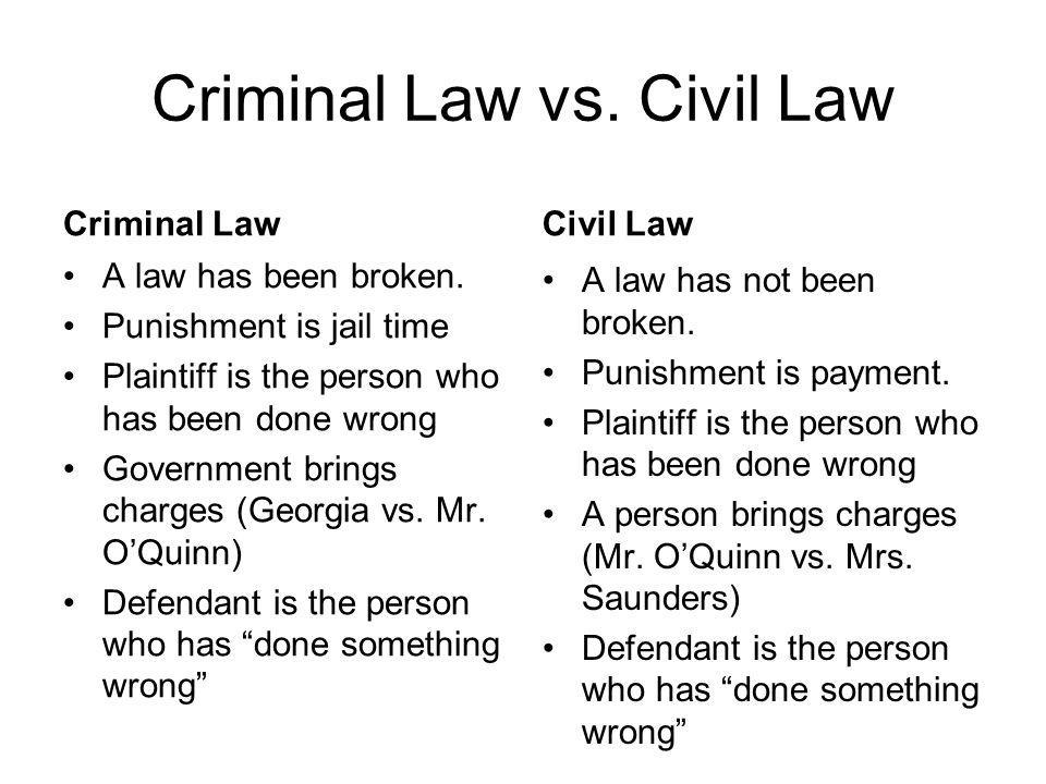 Criminal Law vs. Civil Law