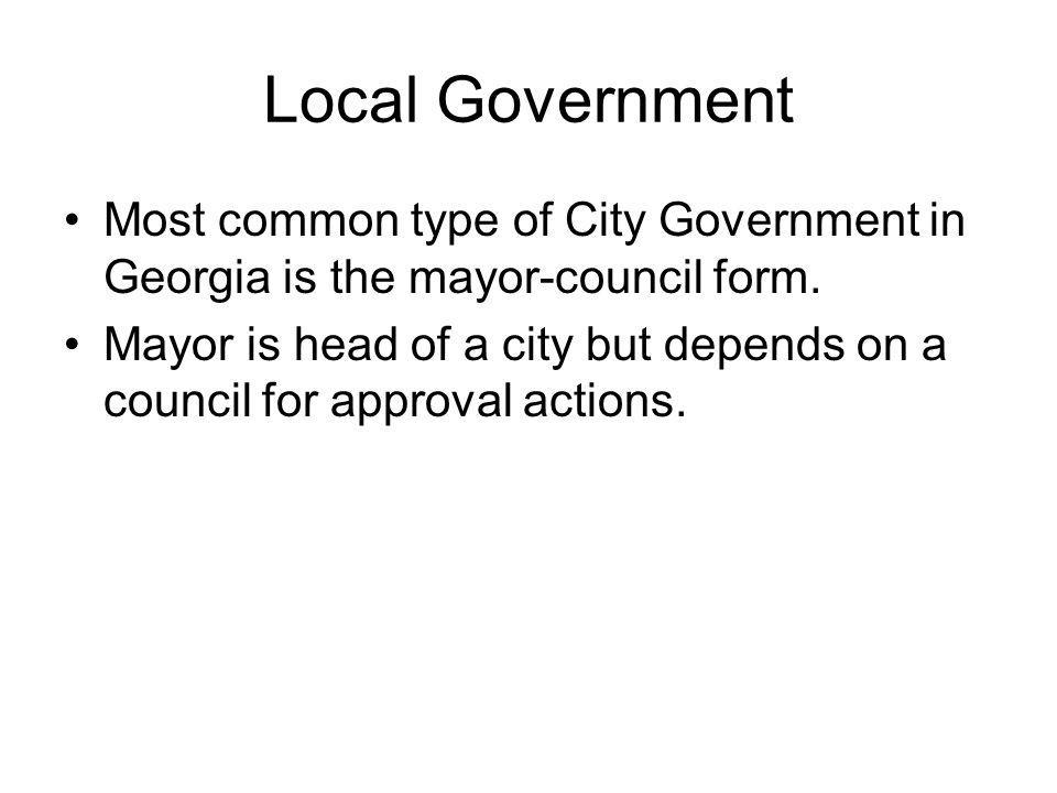 Local Government Most common type of City Government in Georgia is the mayor-council form.