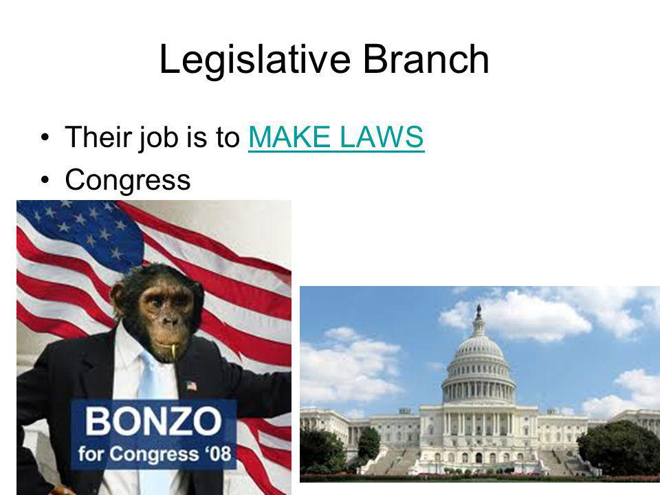 Legislative Branch Their job is to MAKE LAWS Congress