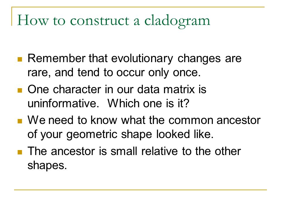 How to construct a cladogram