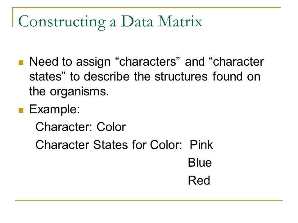 Constructing a Data Matrix
