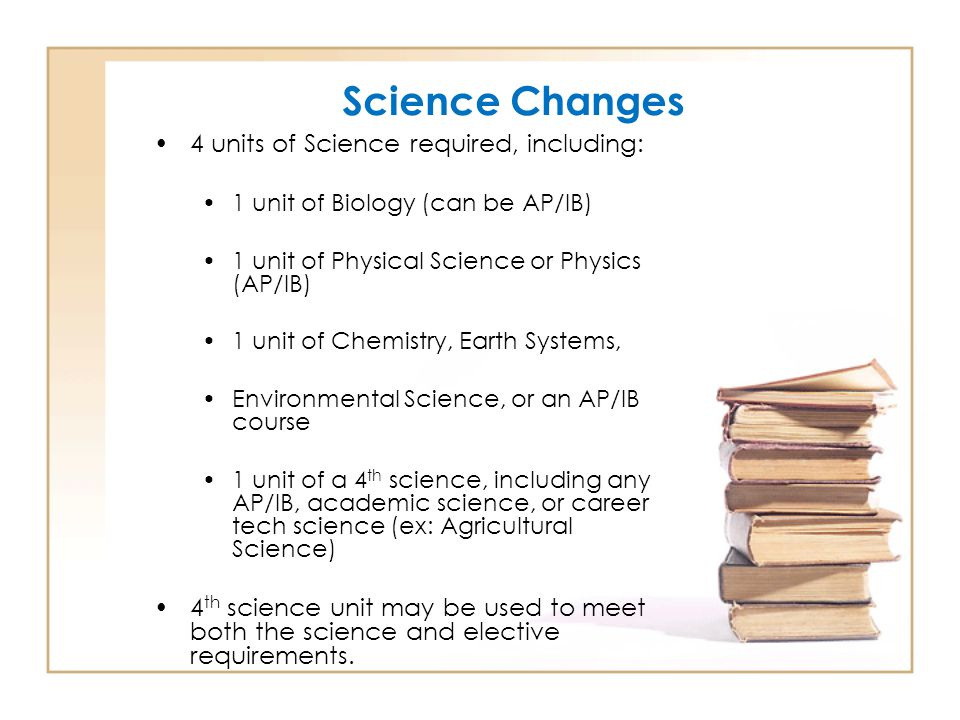 Science Changes 4 units of Science required, including: