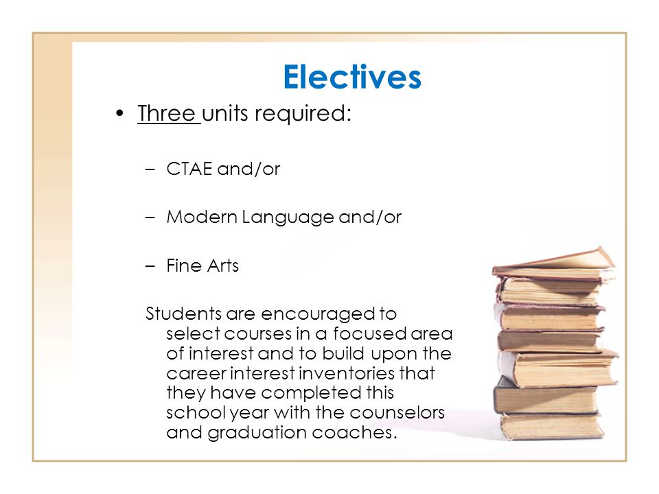 Electives Three units required: CTAE and/or Modern Language and/or