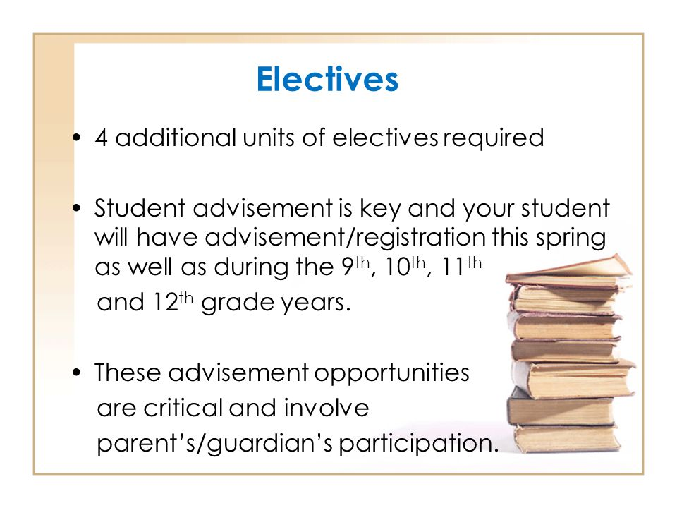 Electives 4 additional units of electives required