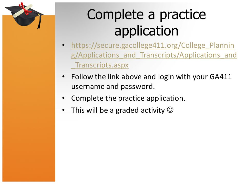 Complete a practice application