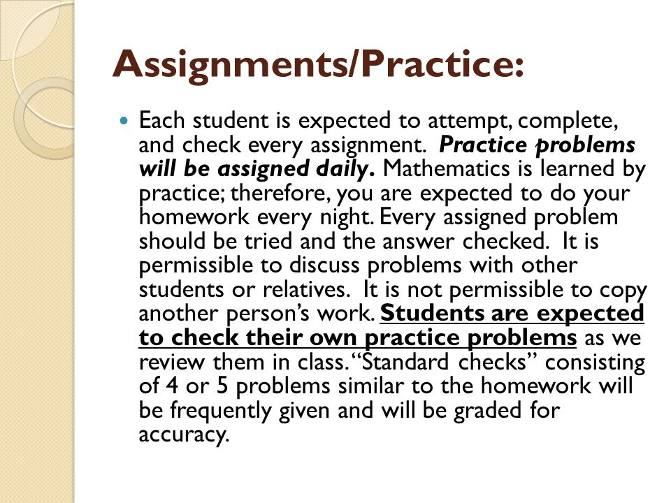 Assignments/Practice: