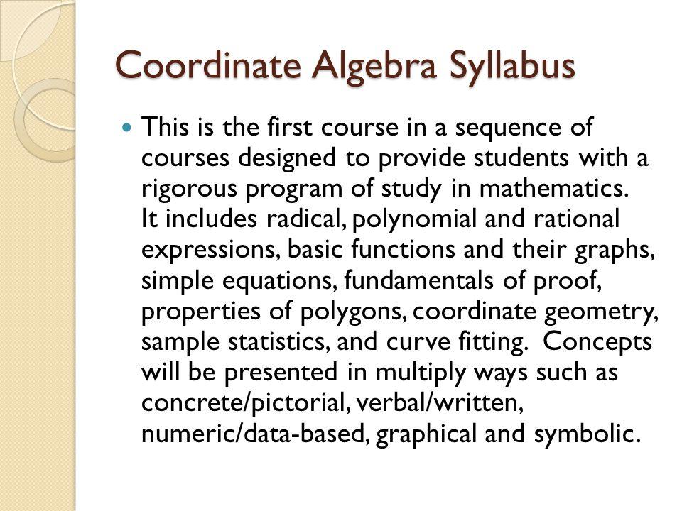 Coordinate Algebra Syllabus