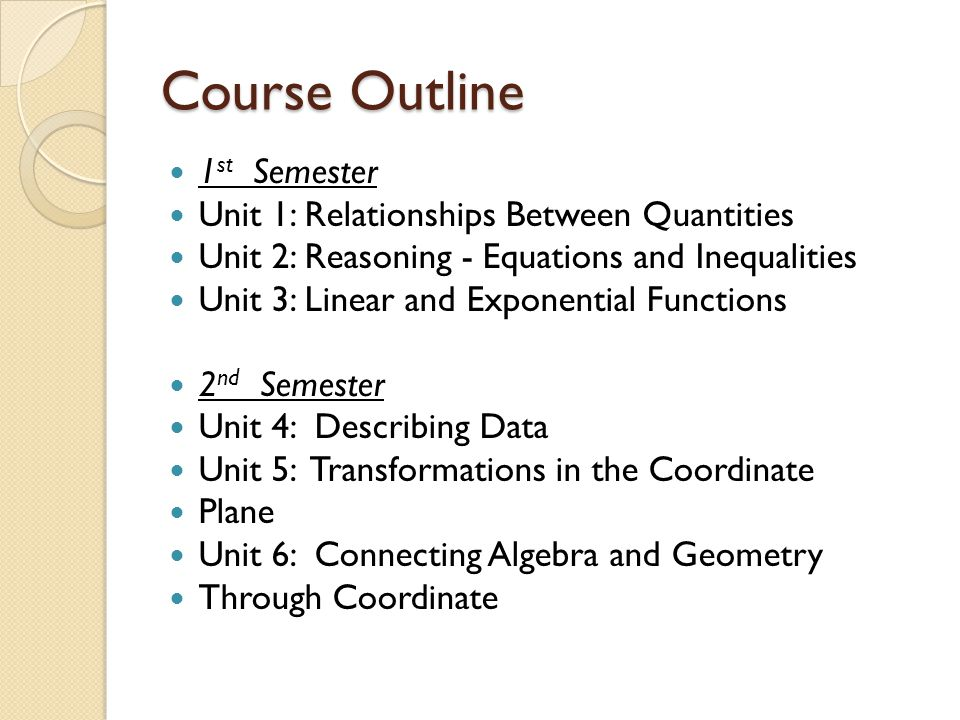 Course Outline 1st Semester Unit 1: Relationships Between Quantities