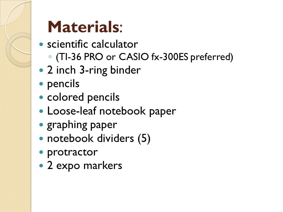 Materials: scientific calculator 2 inch 3-ring binder pencils
