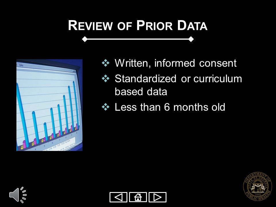 Review of Prior Data Written, informed consent