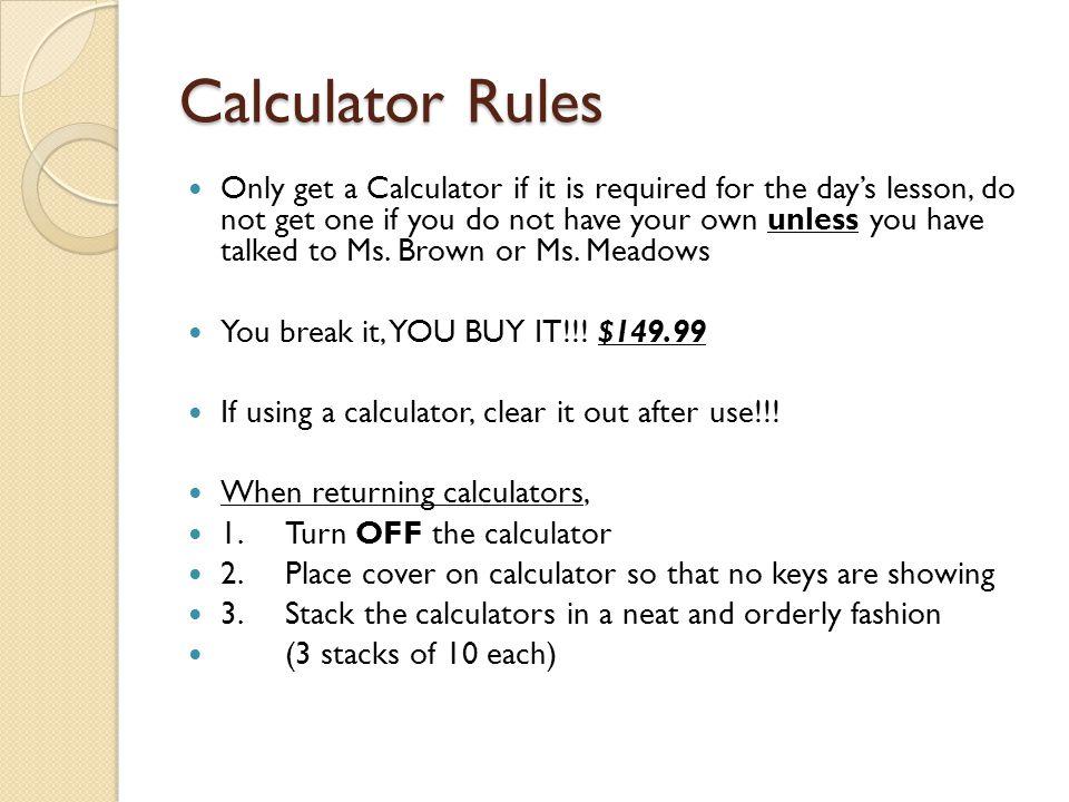 Calculator Rules