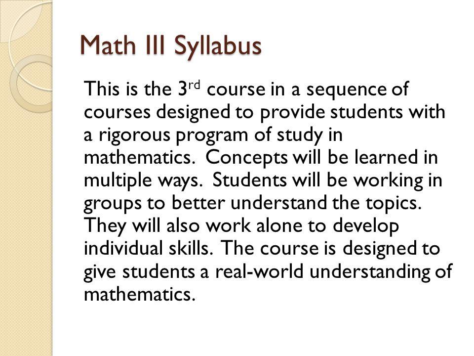 Math III Syllabus