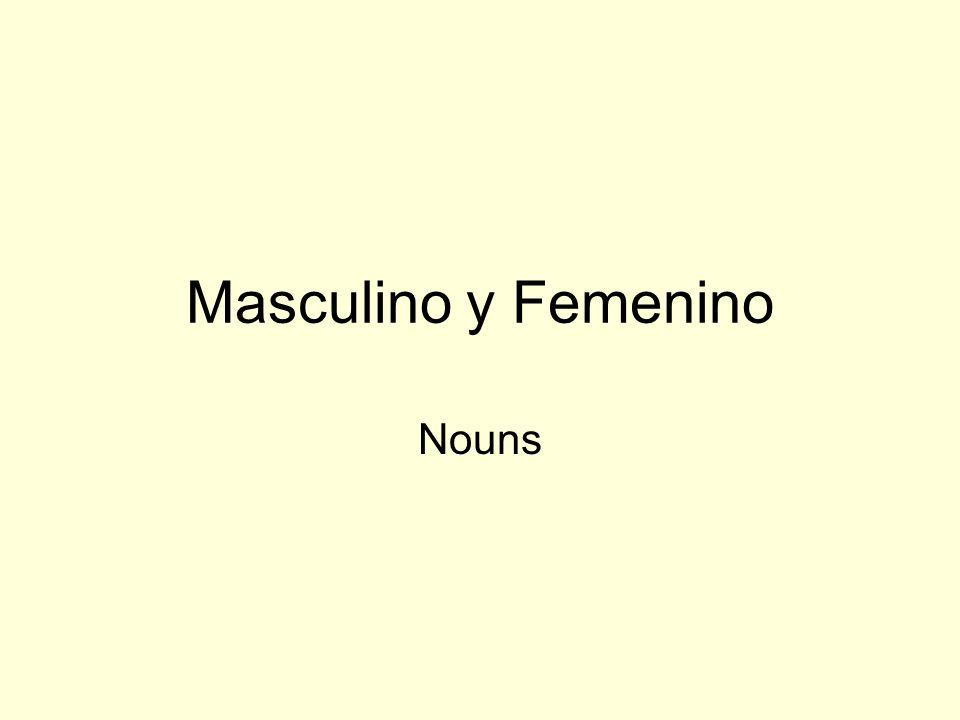 Masculino y Femenino Nouns