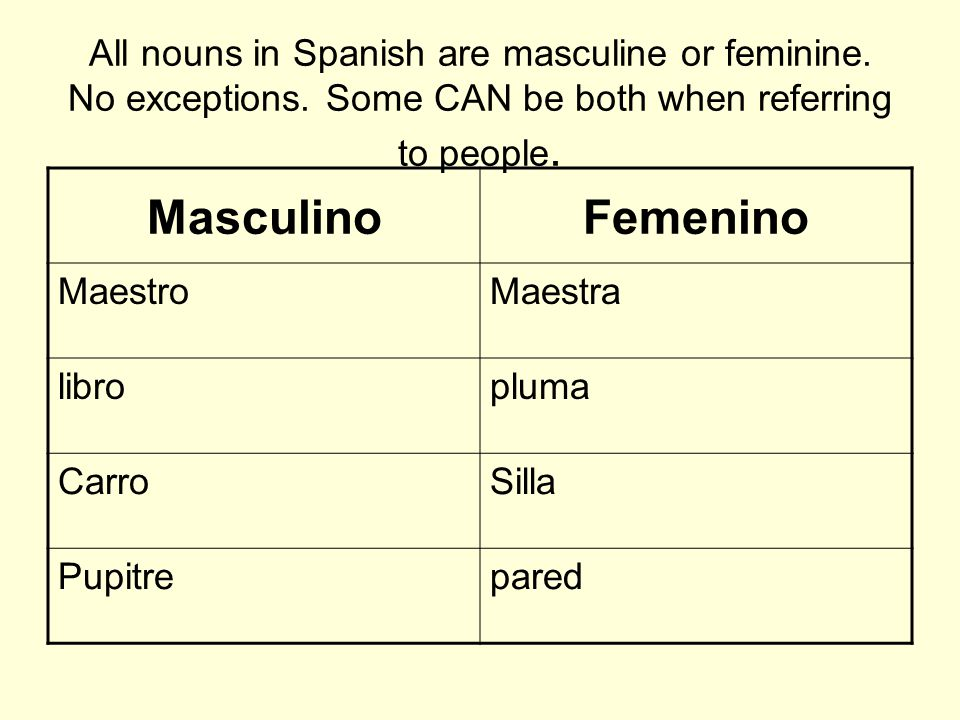 All nouns in Spanish are masculine or feminine. No exceptions