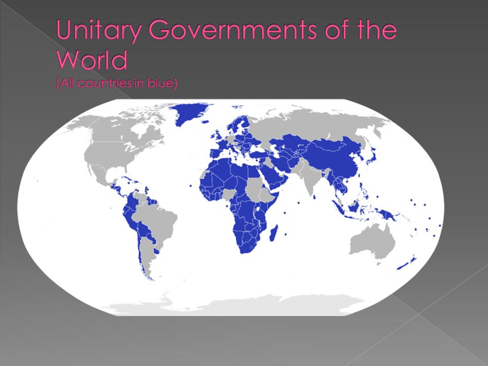 Unitary Governments of the World (All countries in blue)