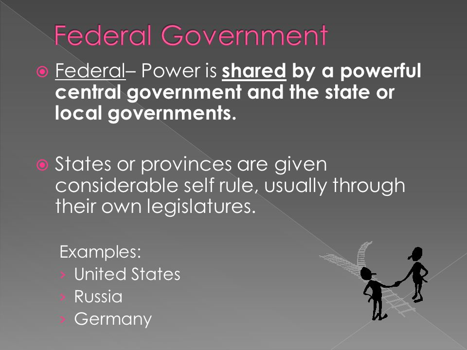 Federal Government Federal– Power is shared by a powerful central government and the state or local governments.