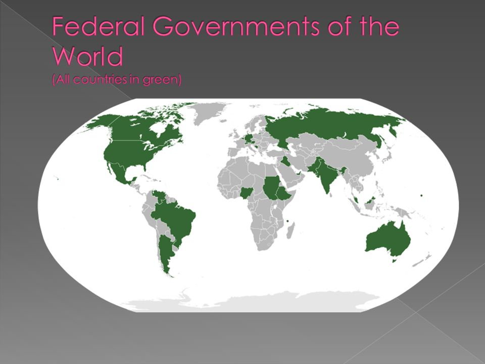 Federal Governments of the World (All countries in green)