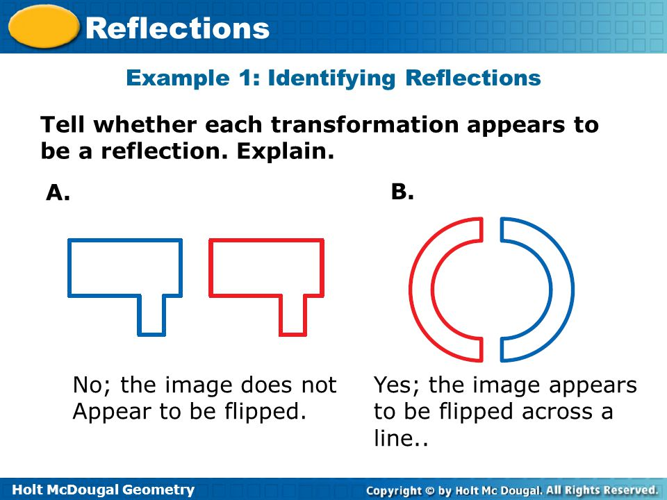 Example 1: Identifying Reflections