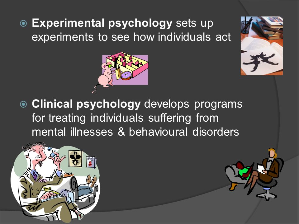 Experimental psychology sets up experiments to see how individuals act
