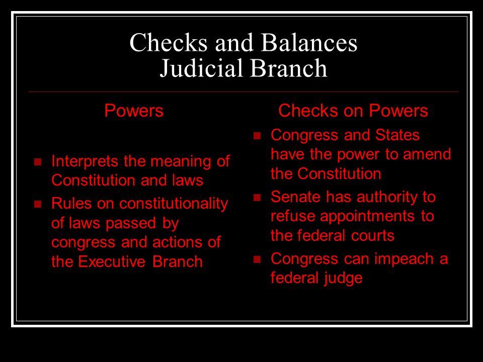 Checks and Balances Judicial Branch