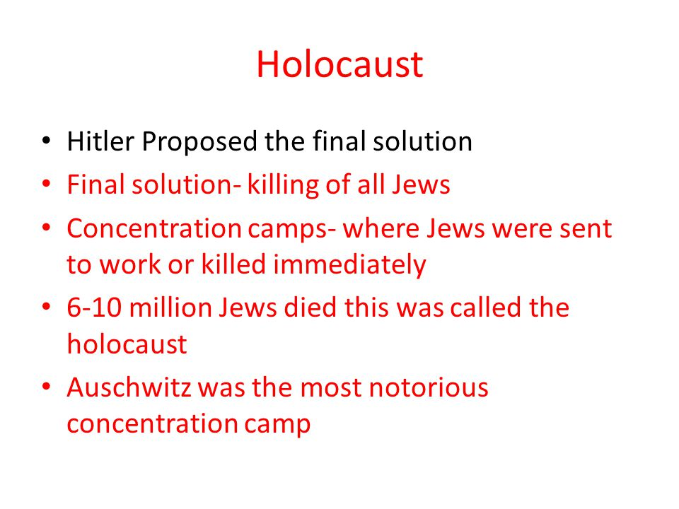 Holocaust Hitler Proposed the final solution