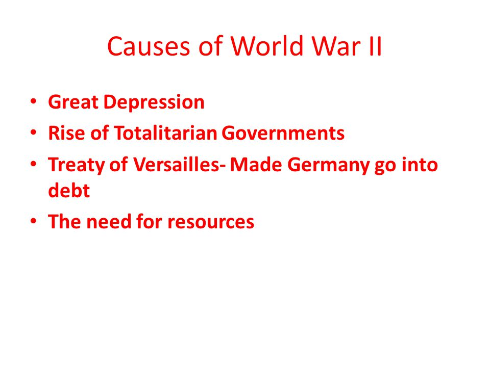 Causes of World War II Great Depression