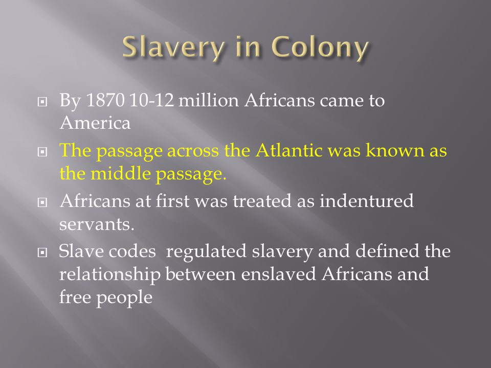 Slavery in Colony By 1870 10-12 million Africans came to America