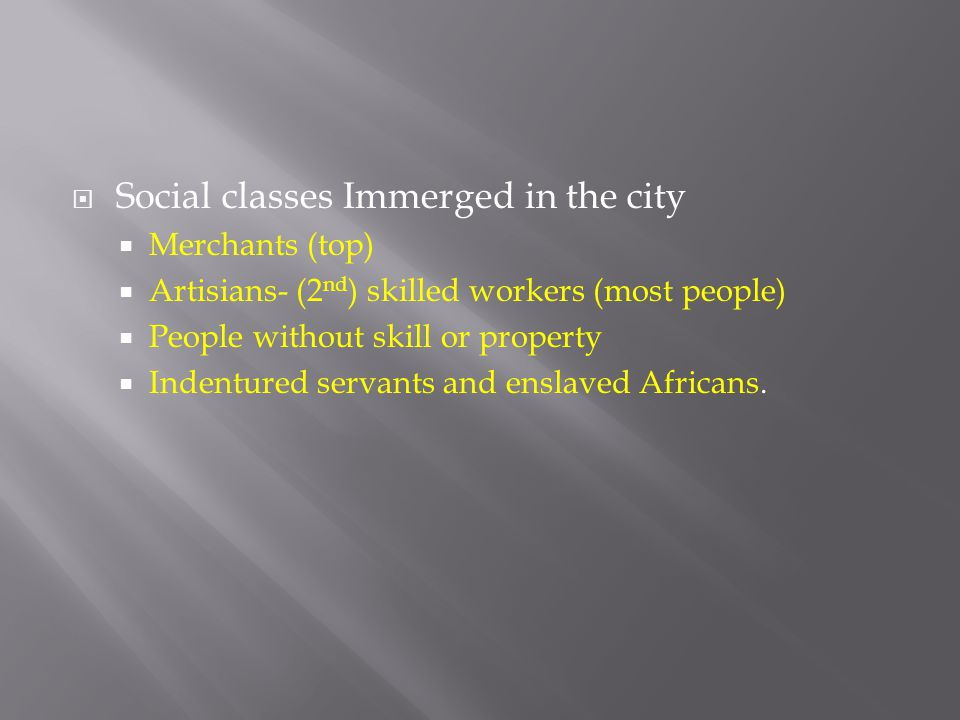 Social classes Immerged in the city