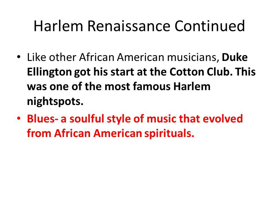 Harlem Renaissance Continued