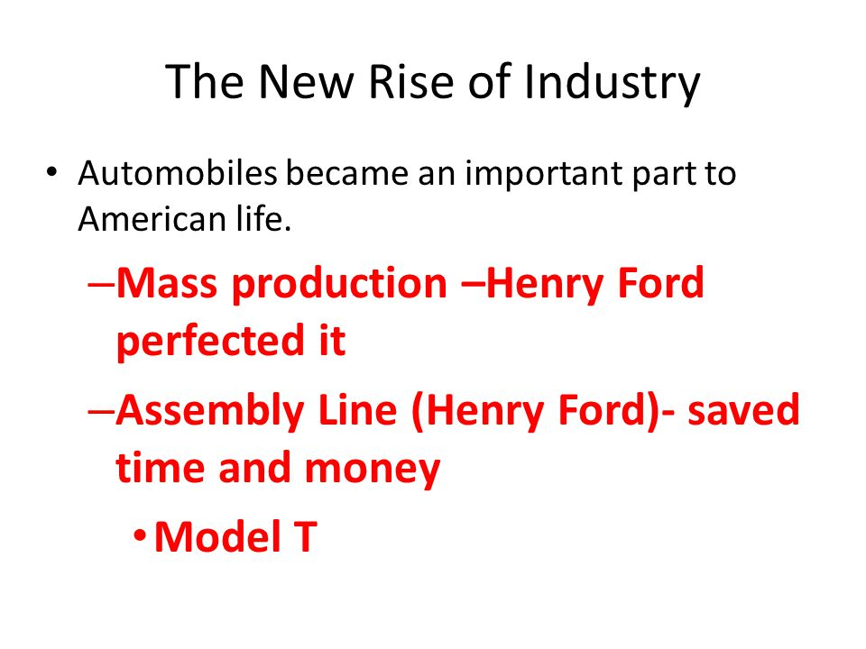The New Rise of Industry