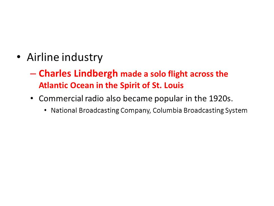 Airline industry Charles Lindbergh made a solo flight across the Atlantic Ocean in the Spirit of St. Louis.