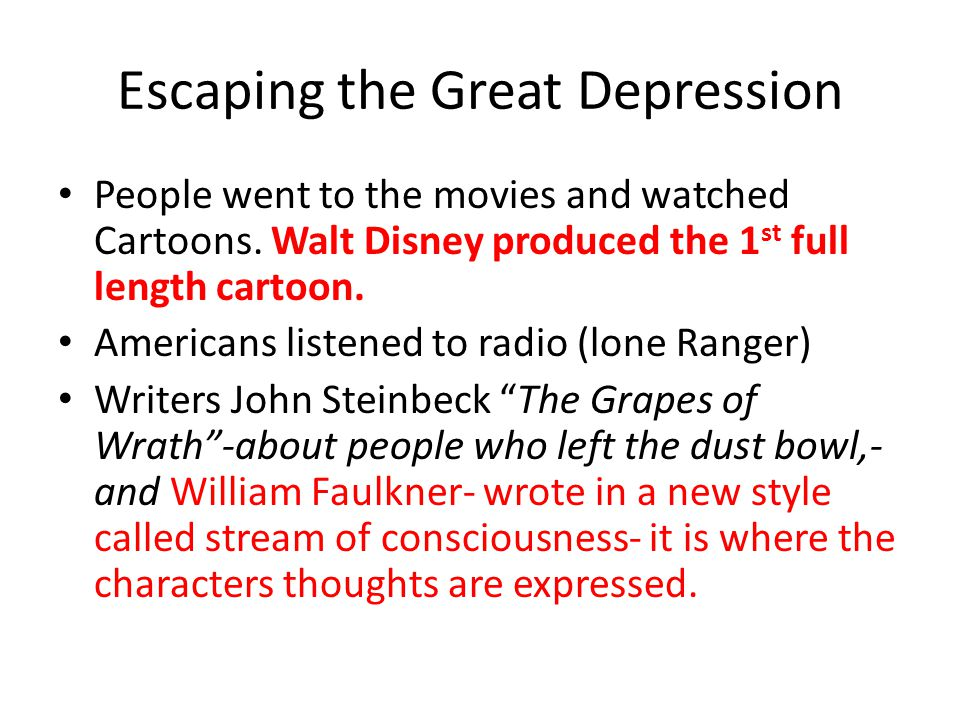Escaping the Great Depression